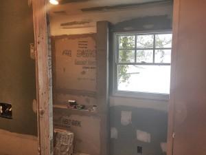 Inside the bathroom.